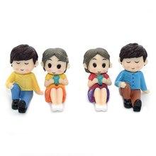 2Pcs/Set Miniatures Garden Fairy Micro Figures  Lovers Landscape Decoration Resin Ornaments Figurine