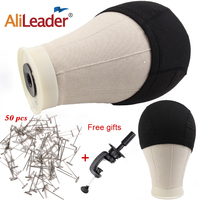 Alileader Cheap Canvas Mannequin Head For Wigs Head With Stand 2pieces Black Dome Caps For Wig Making 21 22 23 24 25