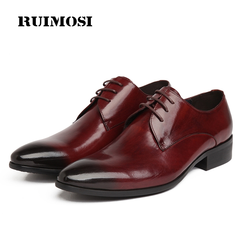 RUIMOSI 2017 New Spring Man Dress Shoes Genuine Leather Cow Oxfords Elegant Men's Wedding Pointed Toe Flats For Bridal AS75