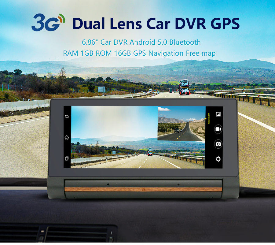 "Junsun 3G Car DVR GPS Camera 6.86""Android dash cam Full HD 1080p Video recorder Wifi Bluetooth registrator Dual lens dvrs Camera 3"
