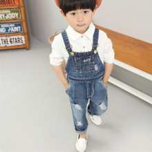 Boys Jeans Overalls 2018 Fashion Autumn Cartoon Solid Children Strap Jumpsuit Casual Kids Girls Clothing Overalls Pants 3ov002
