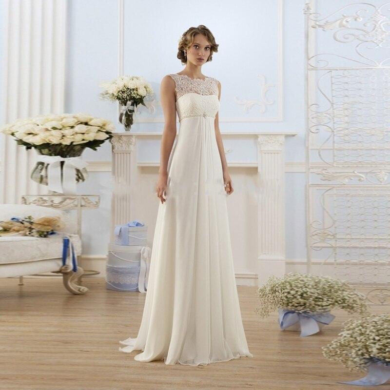 New Arrival Lace Chiffon Wedding Dress Beach Floor Length Long Dresses vestidos de novia casamento