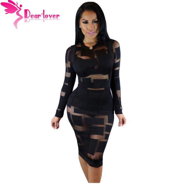 Cher,Amant Femmes Hiver robe moulante Sexy hiver 2016 Noir Sheer Mesh  Patchwork Manches Longues