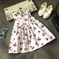 New 2017 Girls Summer Dresses Sleeveless Cute cherry Children Clothing Kids Girls Dress Denim Princess Clothes