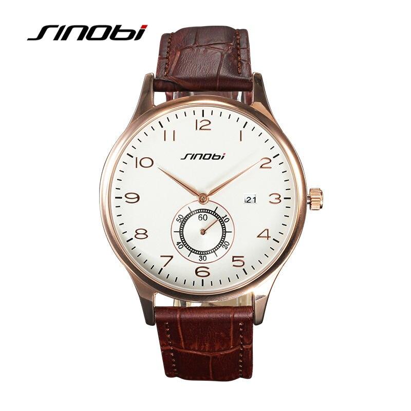SINOBI Mens Gold Wrist Watches Small Dial Seconds Brown Leather Watchband Top Luxury Brand Males Geneva Date Quartz Clock Watch
