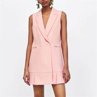 Women elegant sleeveless long vest double breasted waistcoat solid pockets jacket casual pink navy outerwear tops
