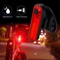 دراجة صغيرة USB الضوء الخلفي لمبة خلفية قابلة للشحن ضوء تحذير السلامة أحمر/أزرق + أحمر ضوء لركوب الدراجات ليلا
