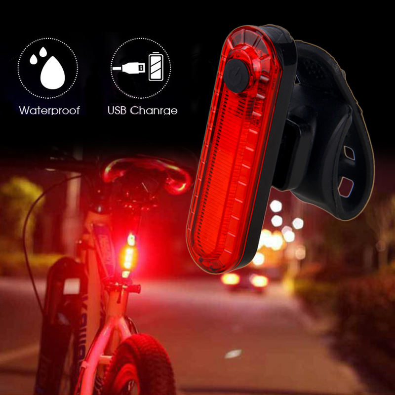 Mini USB Bike Taillight Rechargeable Rear Lamp Safety Warning Light Red/Blue+red Light For Night Cycling