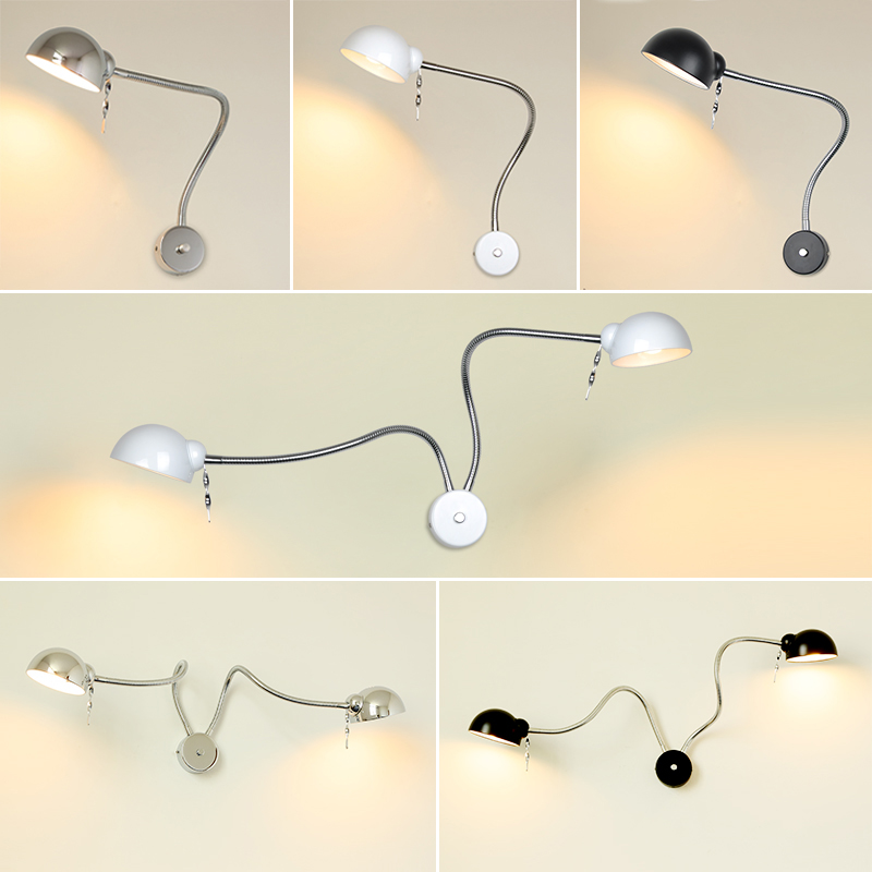 Modern LED Hose Wall lamp flexible 1W 3W 5W bathroom mirror light silver Bedside Reading study sconces led luminaire lamps free shipping hard wired exquisite led study lamps elegant chrome finish universal volts ac100 240v 360mm hose flexible