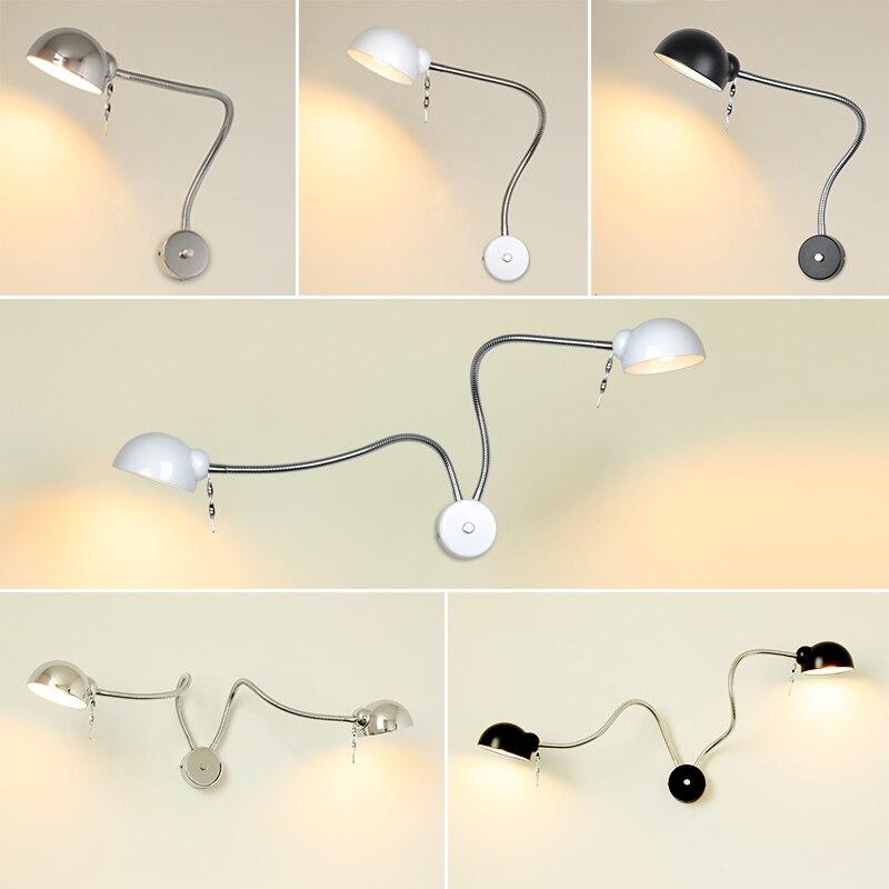 Moderne LED Tuyau Mur lampe flexible 1 W 3 W 5 W salle de bains miroir lumière argent De Chevet Lecture étude appliques led luminaire lampes