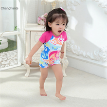 New Models 1-8 year old kid Baby Girl Rash Guards Children swimwear Girls Pink with Multicolour print one piece Swimsuit girls baby girl palm print swimsuit with hat