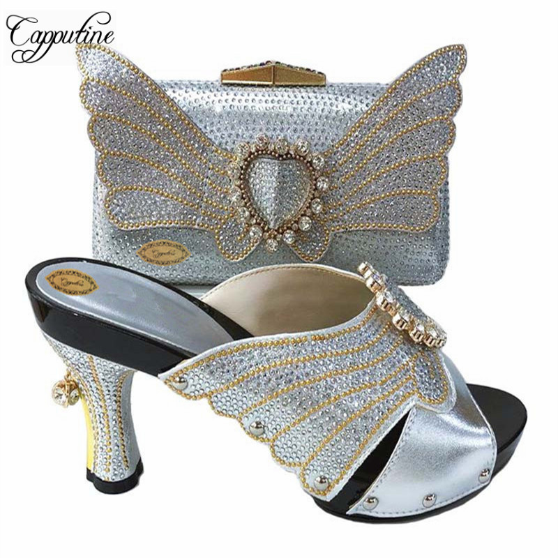 Capputine  Italian Design Shoes And Bag To Match Set African Pumps Shoes And Bag Set For Party Nigerian Women Fashion Shoes