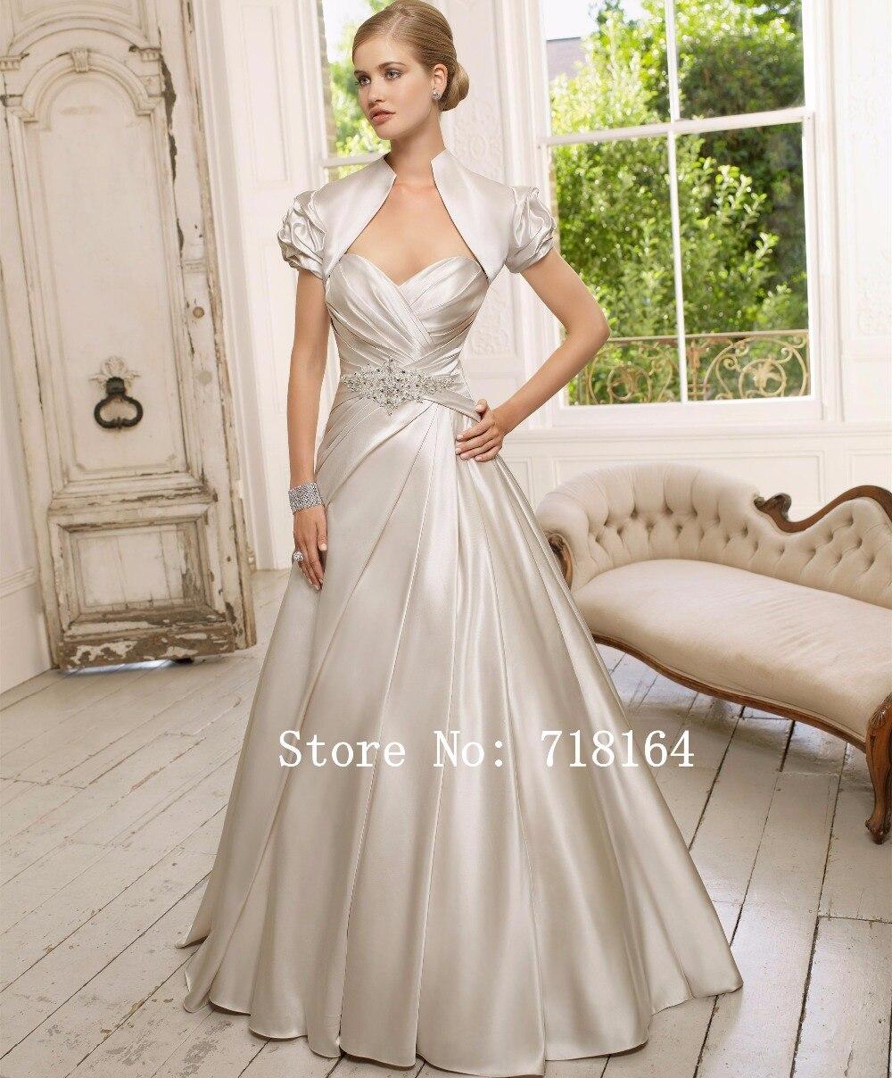 Blanco marfil champagne satinado vestido de novia con la chaqueta de ...