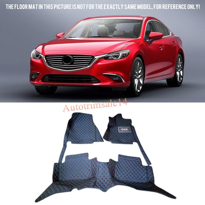 Black Interior Leather Floor Mats & Carpets For Mazda6 Atenza For Mazda 6( Sedan) 2013-2016 9pc x free shipping xenon white for mazda 6 for mazda6 atenza wagon led interior light kit package 2013