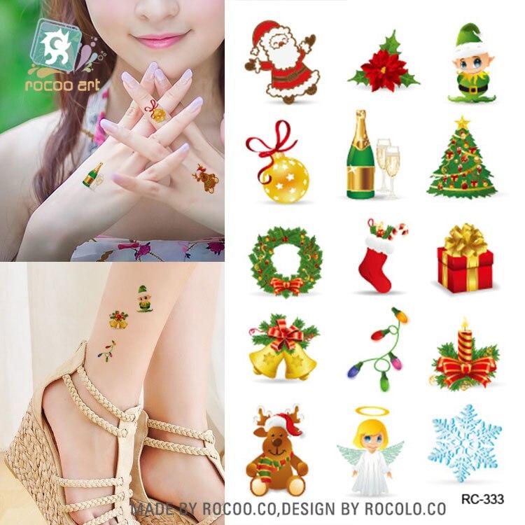 ᑎ‰10 unids Hot color verde Navidad tatuaje pequeño fresco hombres y ...