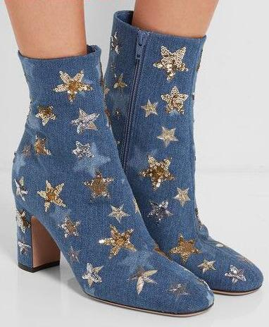 Spring Hot Glitter Stars Women Fashion Ankle Boots Knight Style Female Dress Boots Round Toe Zipper Side Ladies High Heel Boots цена