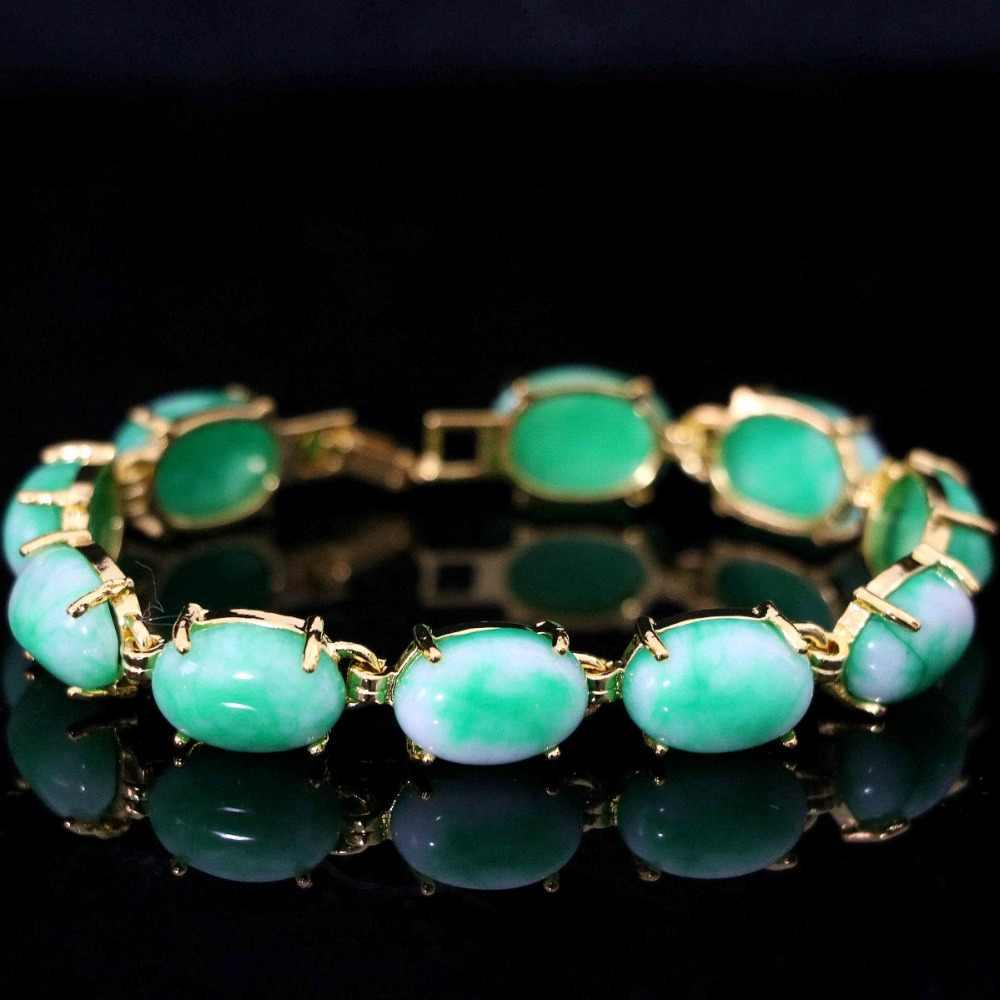 """ใหม่ Semi - precious รูปไข่ chalcedony หินสีเขียว jades gold - สร้อยข้อมือสร้อยข้อมืองานแต่งงานครบรอบของขวัญเครื่องประดับ 7.5"""" b1167"""