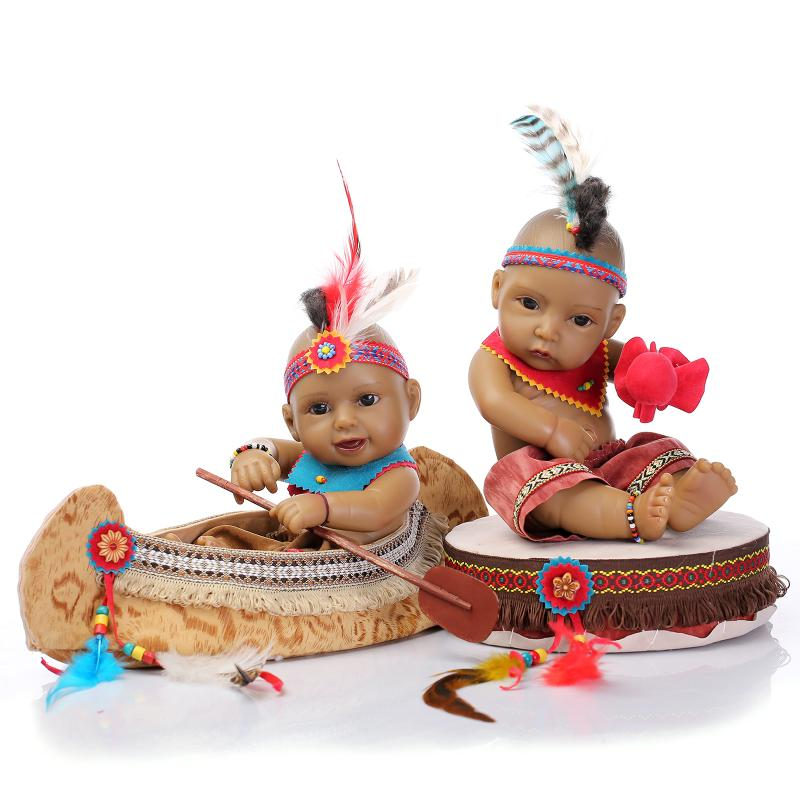 28cm American Indian Twins Baby Doll Fashion Ethnic Dolls Kids Toys Birthday Gifts Decorations Boy Girl