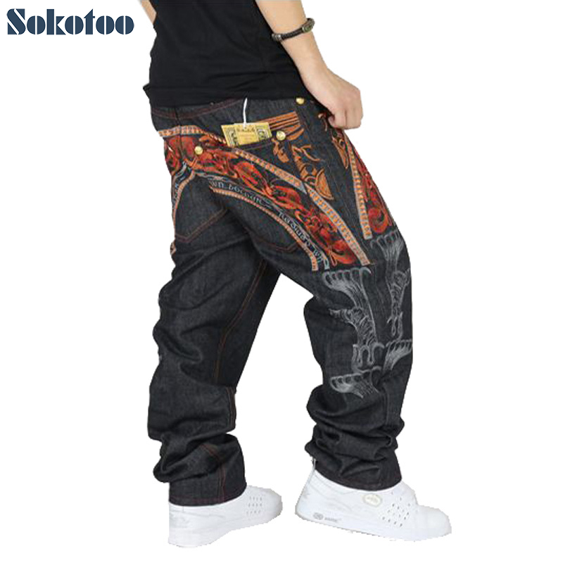 Sokotoo Men's Hip Hop Jeans Cool Personality Embroidery Loose Pants Denim Streetwear Long Trousers Male