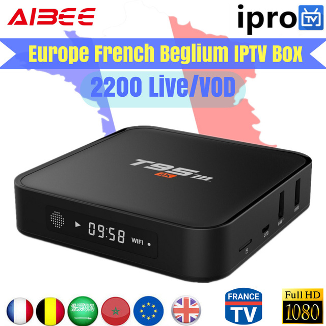 US $79 0 |T95M Android TV Box 1 Year Iprotv IPTV Europe 2300+ Live TV  French Arabic IPTV player Sports Amlogic S905 WiFi Bluetooth 4 0-in Set-top