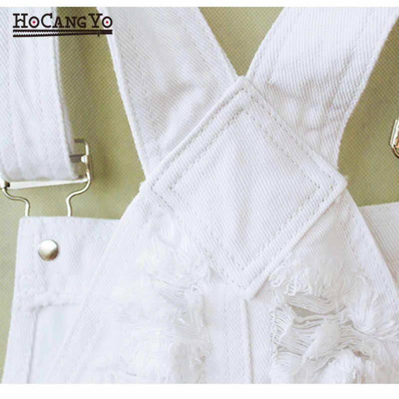 HCYO модная одежда женские хлопковые джинсовые комбинезоны Белые Свободные Комбинезоны с вырезами свободная повседневная женская спортивный костюм с коротким топом