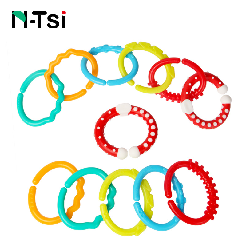 N-Tsi 6 Pieces Textured Teething Baby Toy Links Loops For Children Baby Rattles 6-12 Month Stroller Hanging Crib Mobile Newborns