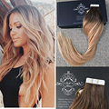 Full Shine Color Dark Brown Ombre Color 6 Fading to 27 Balayage Real Human Hair Extensions Tape in Glued Hair Skin Weft Cheap
