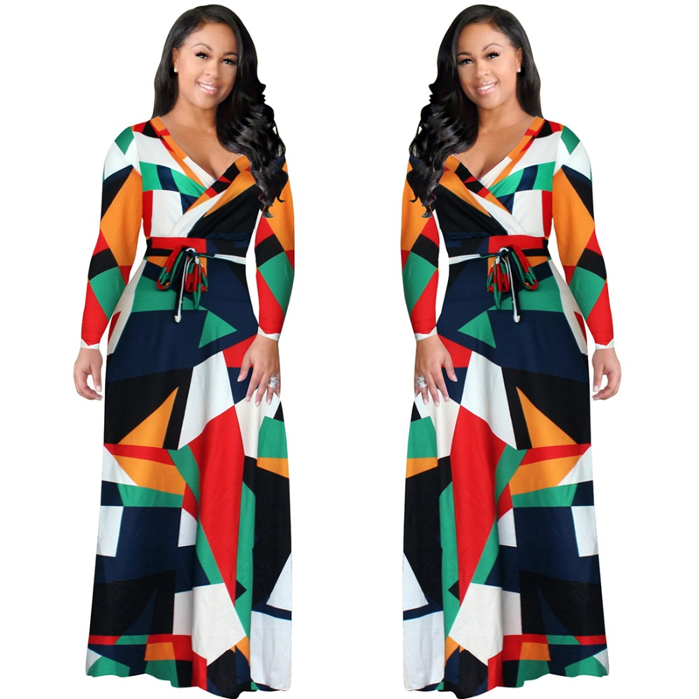2017 New Arrival Women Maxi Dresses V-Neck Long Sleeve Womens Fashion Mixed color print Long Party Dress D1134