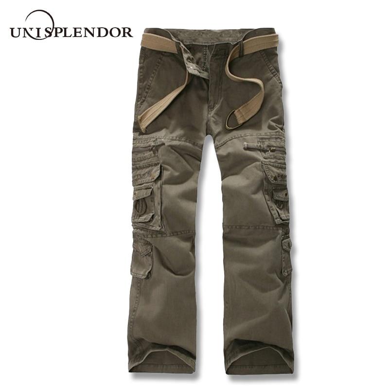 unisplendor 2018 New Arrival Cargo Pants Men Military Army Pants Multi Pocket Mens Casual Full Trousers Work Pant 28-38 YN832