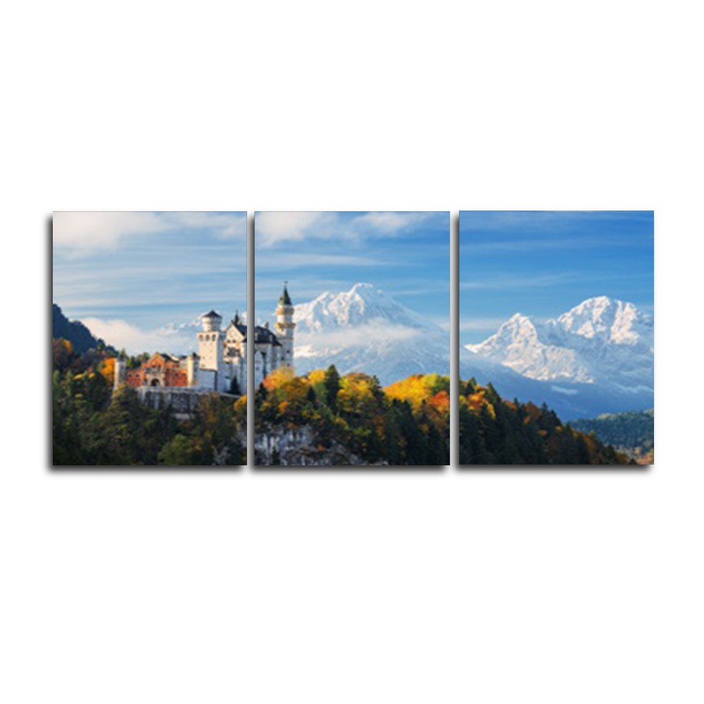 Laeacco 3 Panel Dreamy Castle Blue Sky Mountain Posters and Prints Wall Art Nordic Canvas Painting For Living Room Home Decor