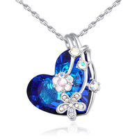 Heart Pendant Necklaces For Women Real Crystal From Swarovski Fashion Choker Necklace Romantic Jewelry Accessories