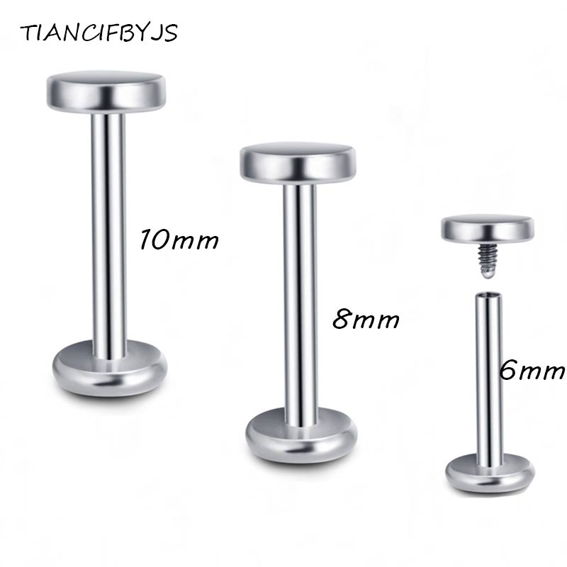 TICNCIFBYJS Labret Body Jewelry Internally Threaded Surgical Stainles Lip Ring Bar Tragus Helix Piercing Kits Ear Studs 16G 2pcs