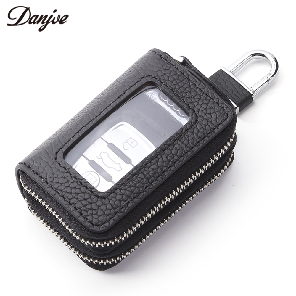 DANJUE Multifunction Key Case Genuine Leather Men Women Key Holder Organizer Real Leather Car Key Bag Wallet Housekeeper