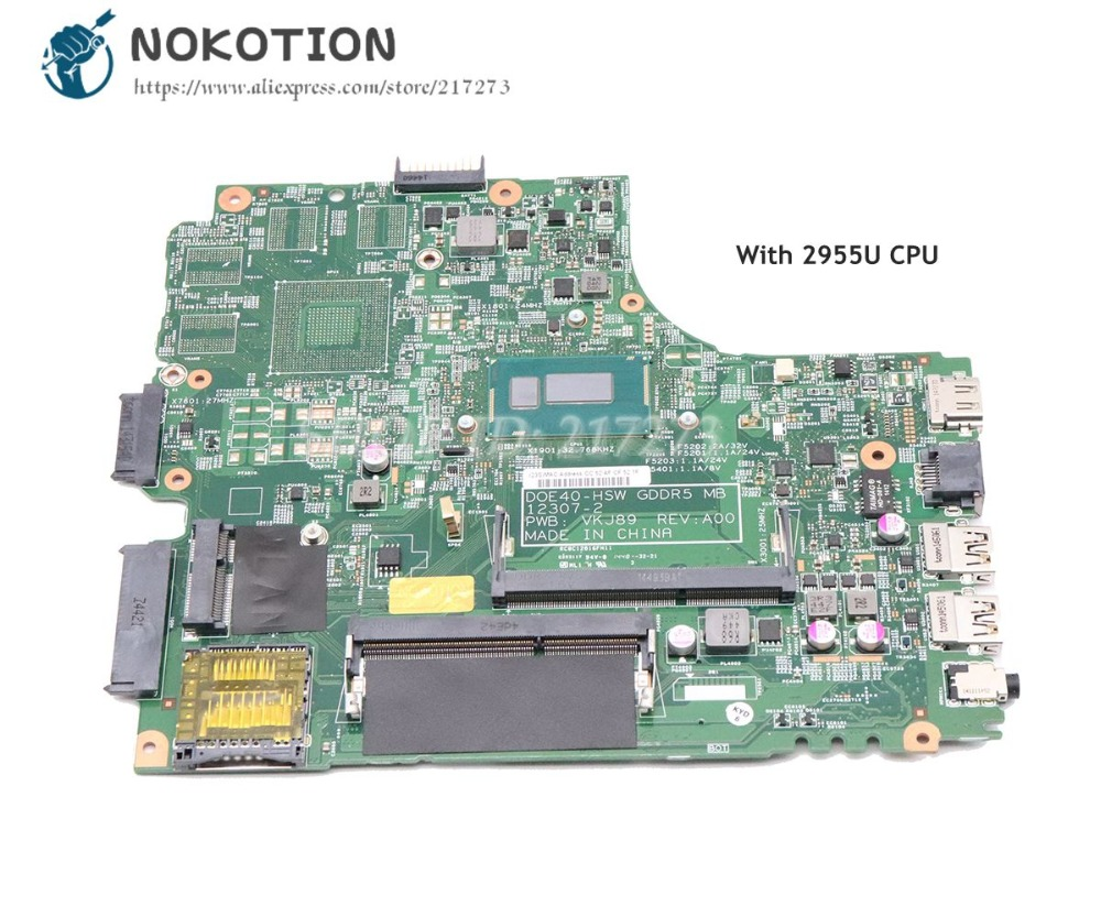NOKOTION For Dell Inspiron 3437 5437 Laptop Motherboard CN-09DJXD 9DJXD DOE40-HSW 12307-2 PWB VKJ89 REV A00 2955U CPU DDR3