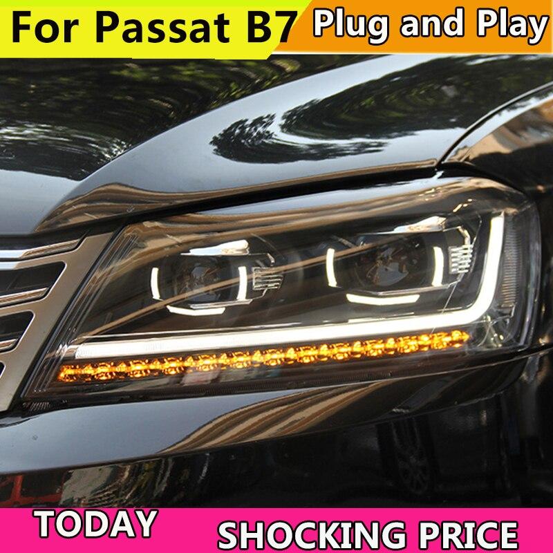 Style de voiture pour Volkswagen VW Europe Passat B7 phares 2012-2016 phare LED DRL Bi xénon lentille dynamique clignotant