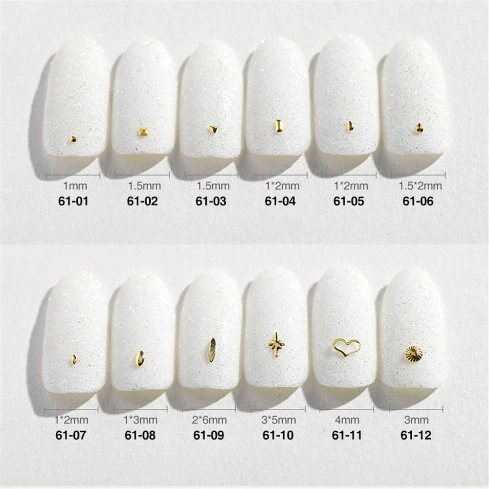 1 bag200pcs Gold Linie Nagel Bolzen Nagel Teile Dekoration Stern Kreis Mond Nail art Nagel Salon