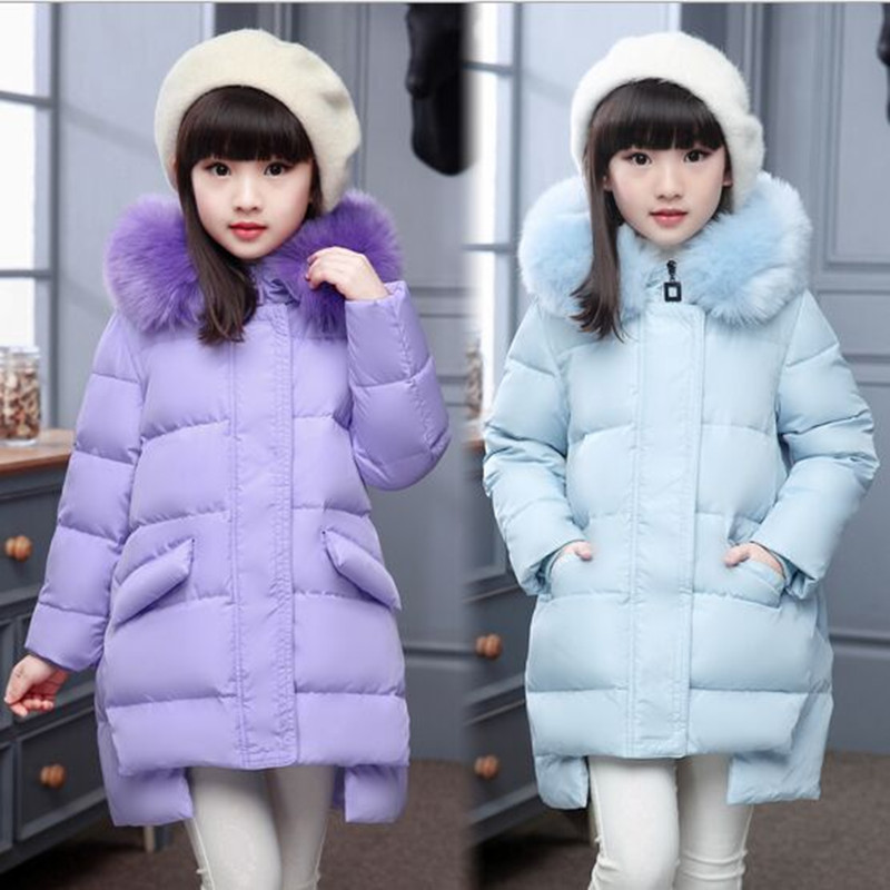 ФОТО 2016 New Arrive Girl Winter Down Jacket Fashion Fur Collar Hooded  Long Winter Thick Warm Children Down & Parkas Coat For 6-12 T