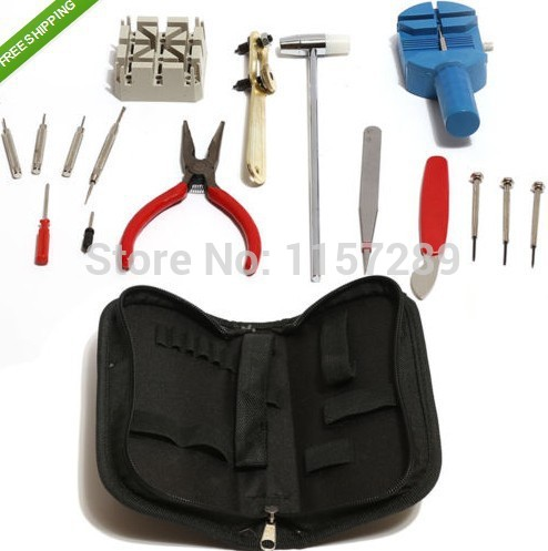 Deluxe 16pc Watch Back Case Opener Tool Kit Repair Pin Remover Watchmaker + Tool + Bag 16pc x 100