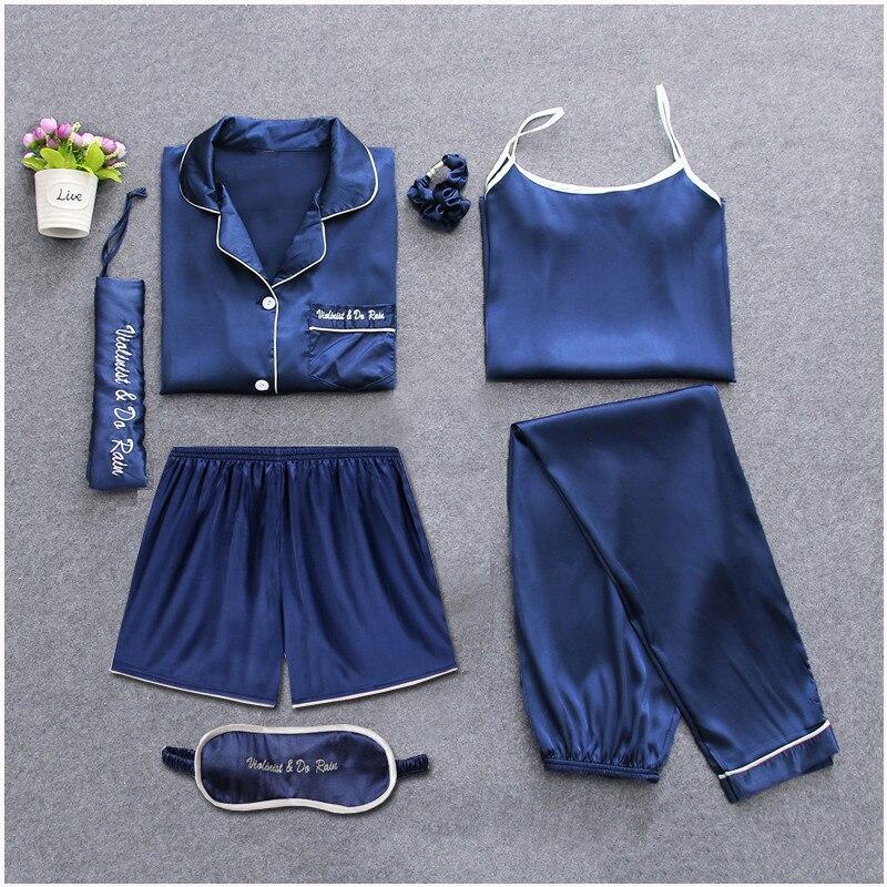 Ropa unidades de dormir 7 piezas pijama conjunto 2018 mujeres Otoño Invierno pijamas Sexy conjuntos dormir trajes suave dulce lindo ropa de dormir regalo ropa de casa