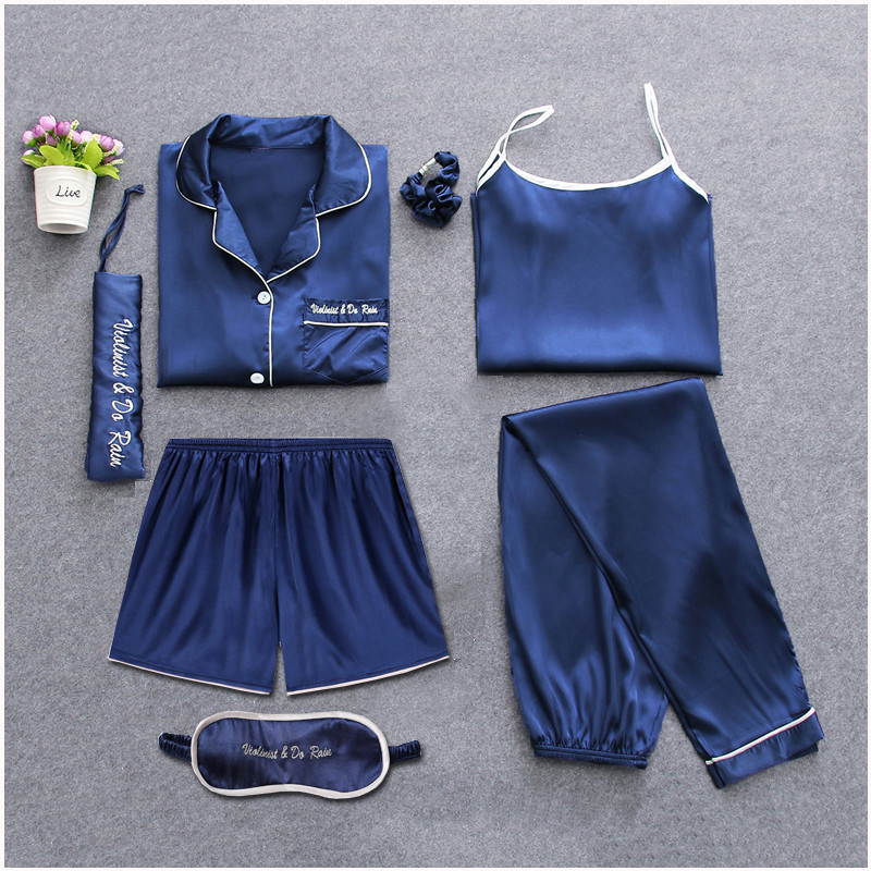 Sleepwear 7 Pieces Pyjama   Set   2019 Women Spring Summer Sexy Silk   Pajamas     Sets   Satin Sleep Suit Sweet Cute Nightwear Home Clothes