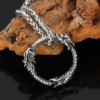 Nordic Viking Amulet Dragon Dreki Scandinavian Jormungandr Knot Necklace  Viking Necklace