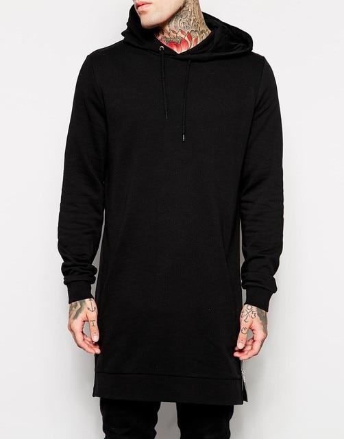 2016 vestidos hombres negro largo hip hop línea larga