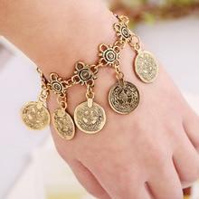 2016 Trendy Vintage Coin Pendant Bracelet Bohemian Maxi Tassel Style Antique Silver/Gold Gypsy Women Bracelet Lobster Clasp