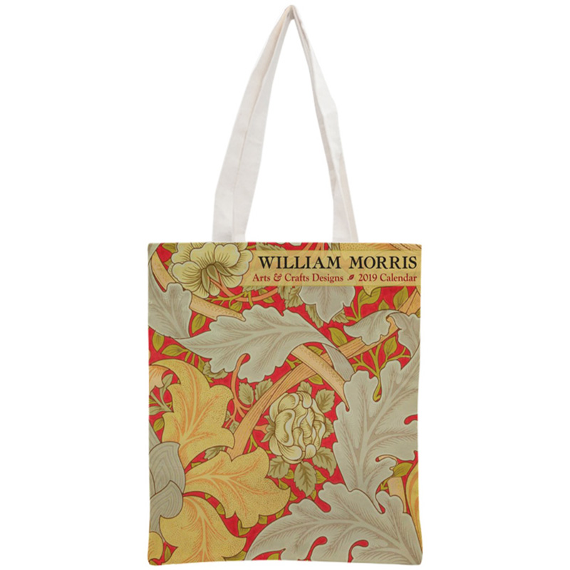 Custom William Morris Tote Bag Reusable Handbag Women Shoulder Foldable Cotton Canvas Shopping Bags