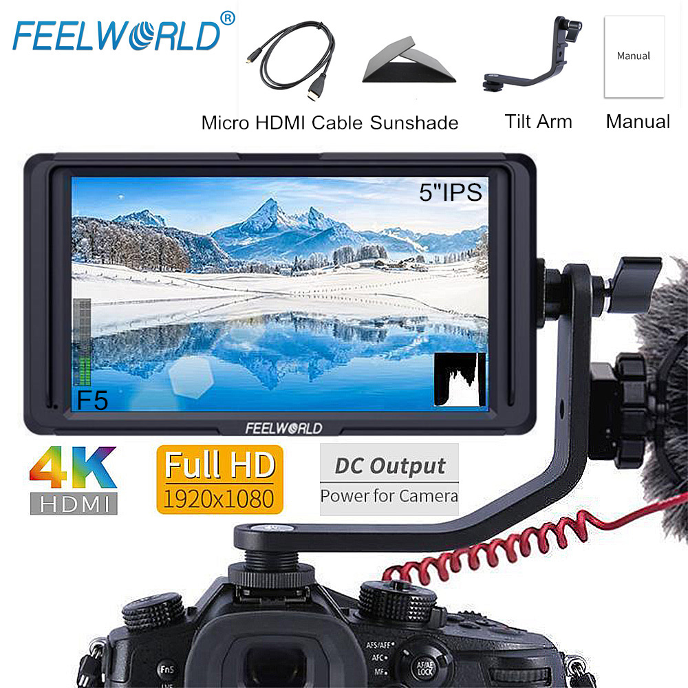 FEELWORLD F5 5 дюймов ips DSLR 4 К HDMI Камера поле монитор FHD 1920x1080 DC Выход ЖК-дисплей монитор для sony Nikon и т. д. с наклоном Arm