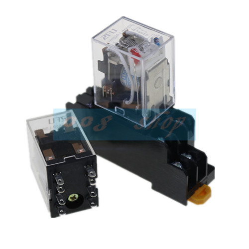 1set MY2P HH52P MY2NJ relay 220V AC coil high quality general purpose DPDT micro mini relay with socket base holder T