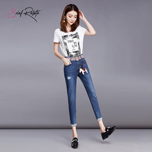 Brief Relate Blue Slim Denim Jeans Comfortable Elastic Easy Match Ninth-pants Mid-waist Curling Legs Edge Denim Pants