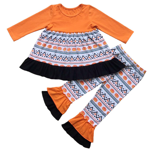 d1a885d9c Girl's Thanksgiving Ruffle Outfits Boutique Turkey Pumpkin patch Halloween  ruffle pants outfit girls holiday trick or