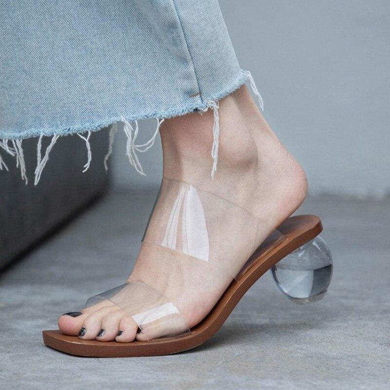 Nouvelles sandales transparentes femmes diapositives mode Perspex talons chaussures d'été pour femmes décontracté femme sandales 2019 été