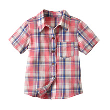 Cute Boys Summer Plaid Shirts Tees Candy Color Western Fashion Children boys Clothing